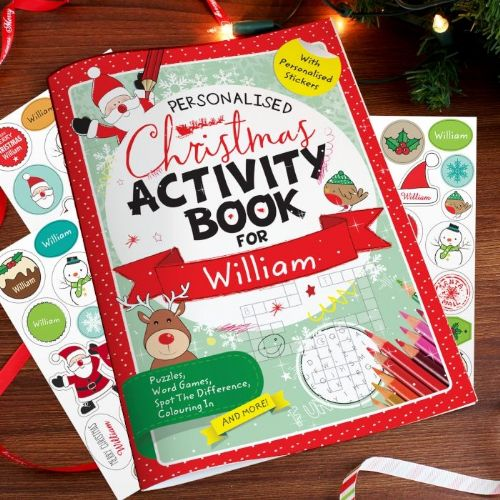 Personalised Kids Christmas Activity Book with Stickers